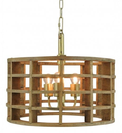 Hanglamp Havanna large naturel wood / brass