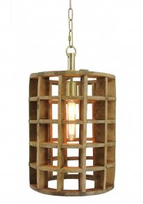 Hanglamp Havanna medium natural wood / brass