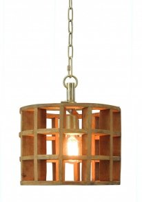 Hanglamp Havanna small natural wood / brass