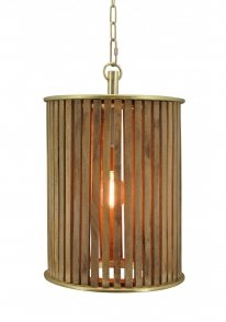 Hanglamp Nassau small natural wood / brass